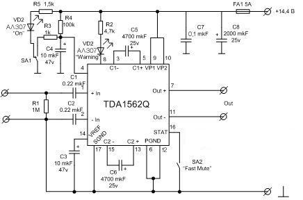 УНЧ на микросхеме TDA1562Q
